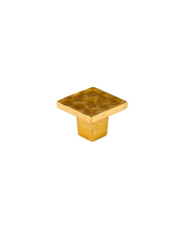 Pomegranate Square Knob Satin Brass