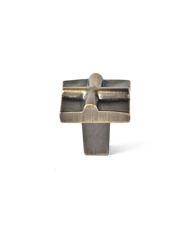 Rio Small Cross Knob Antique Brass