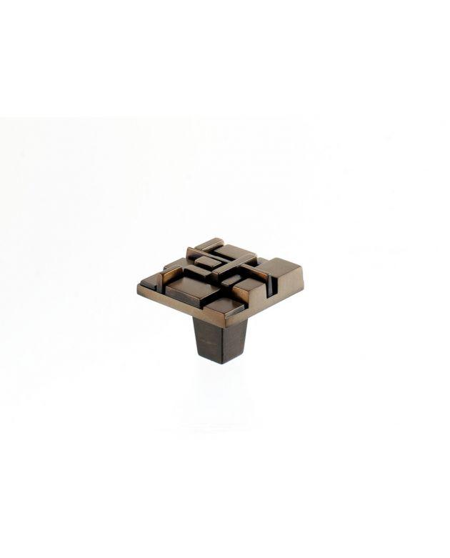 Offset Square Knob Antique Brass