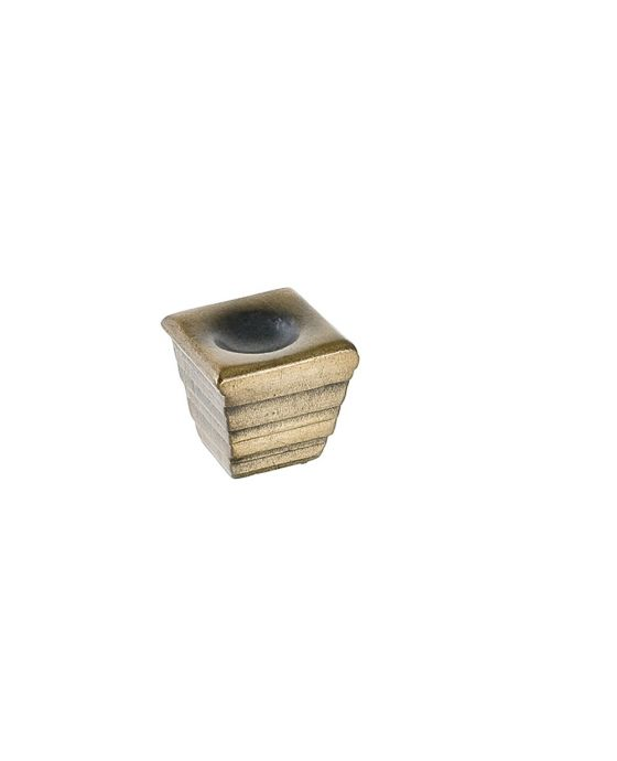 Forged 2 Small Cube Knob 1 Inch Antique Brass