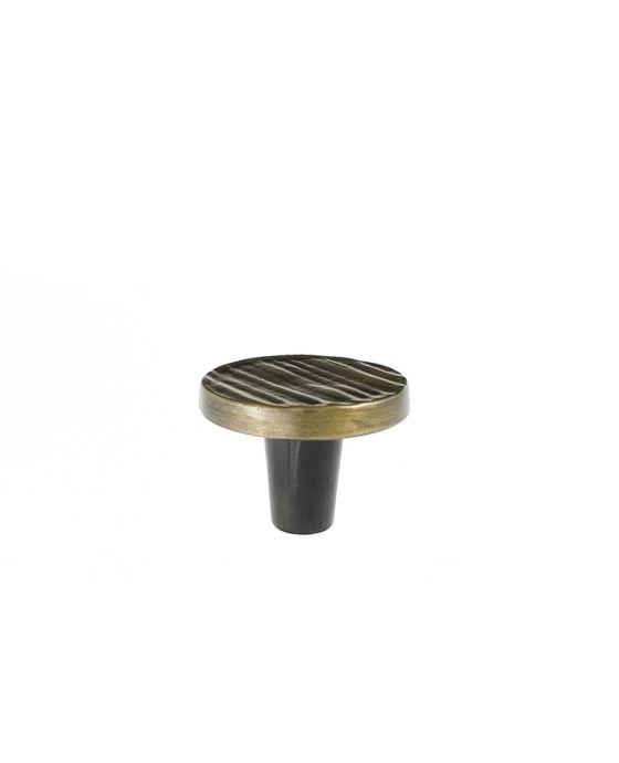 Forged 3 Round Knob 1 1/2 Inch Antique Brass