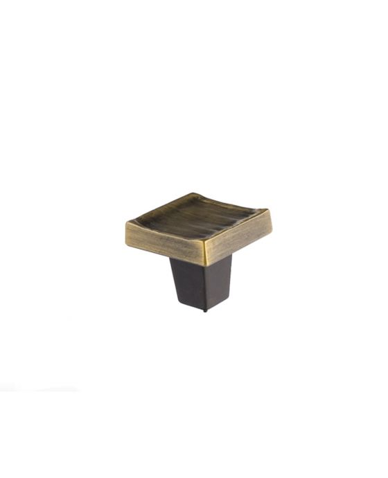 Forged 3 Square Knob 1 1/4 Inch Antique Brass
