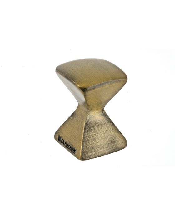 Forged 2 Med Square Knob 7/8 Inch Antique Brass