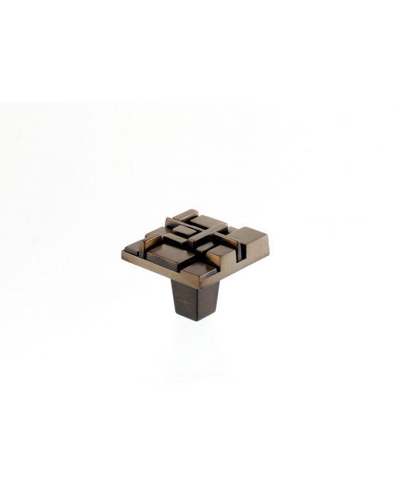 Offset Square Knob 1 1/2 Inch Antique Brass