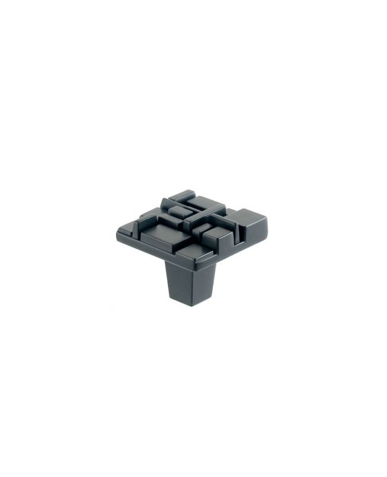 Offset Square Knob 1 1/2 Inch Black Matte