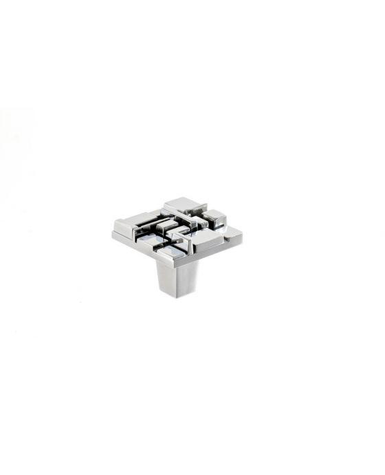 Offset Square Knob 1 1/2 Inch Polished Chrome