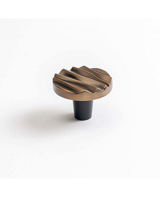 Wave Small Round Knob 1 1/2 Inch Antique Brass